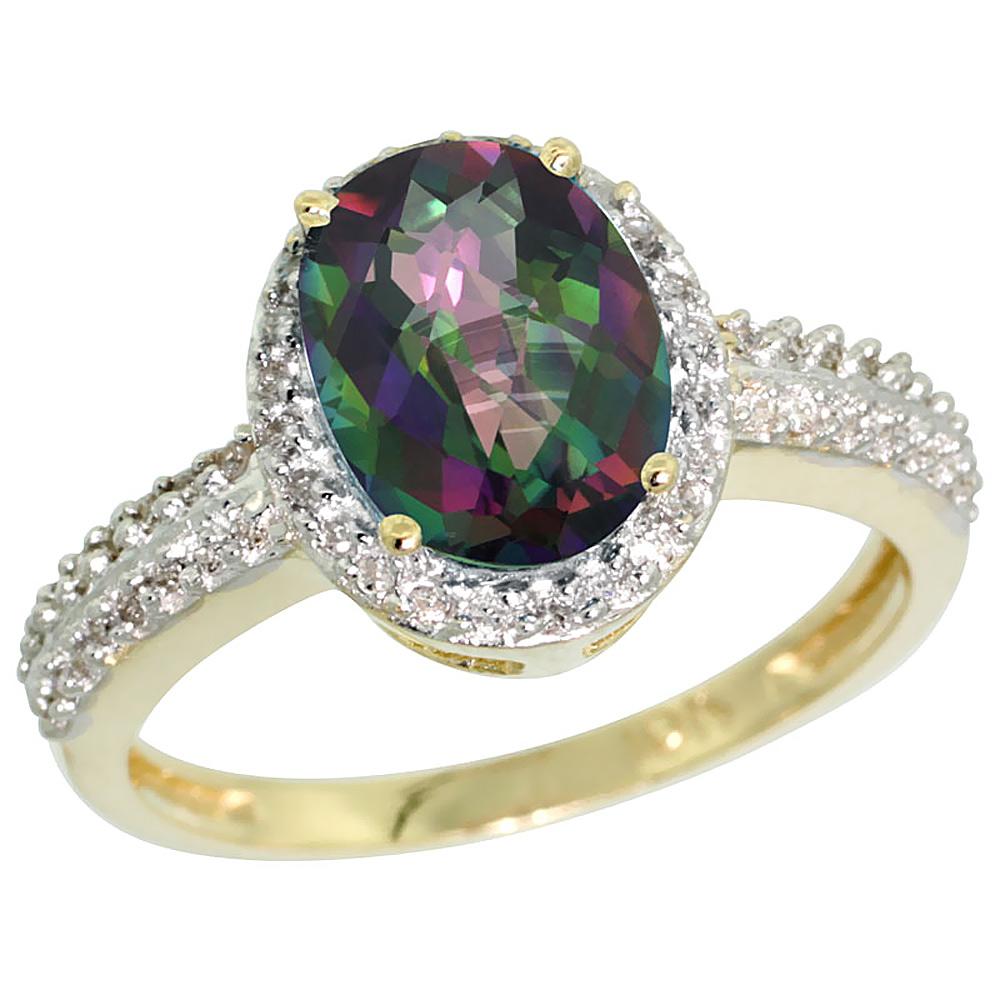10K Yellow Gold Diamond Natural Mystic Topaz Ring Oval 9x7mm, sizes 5-10