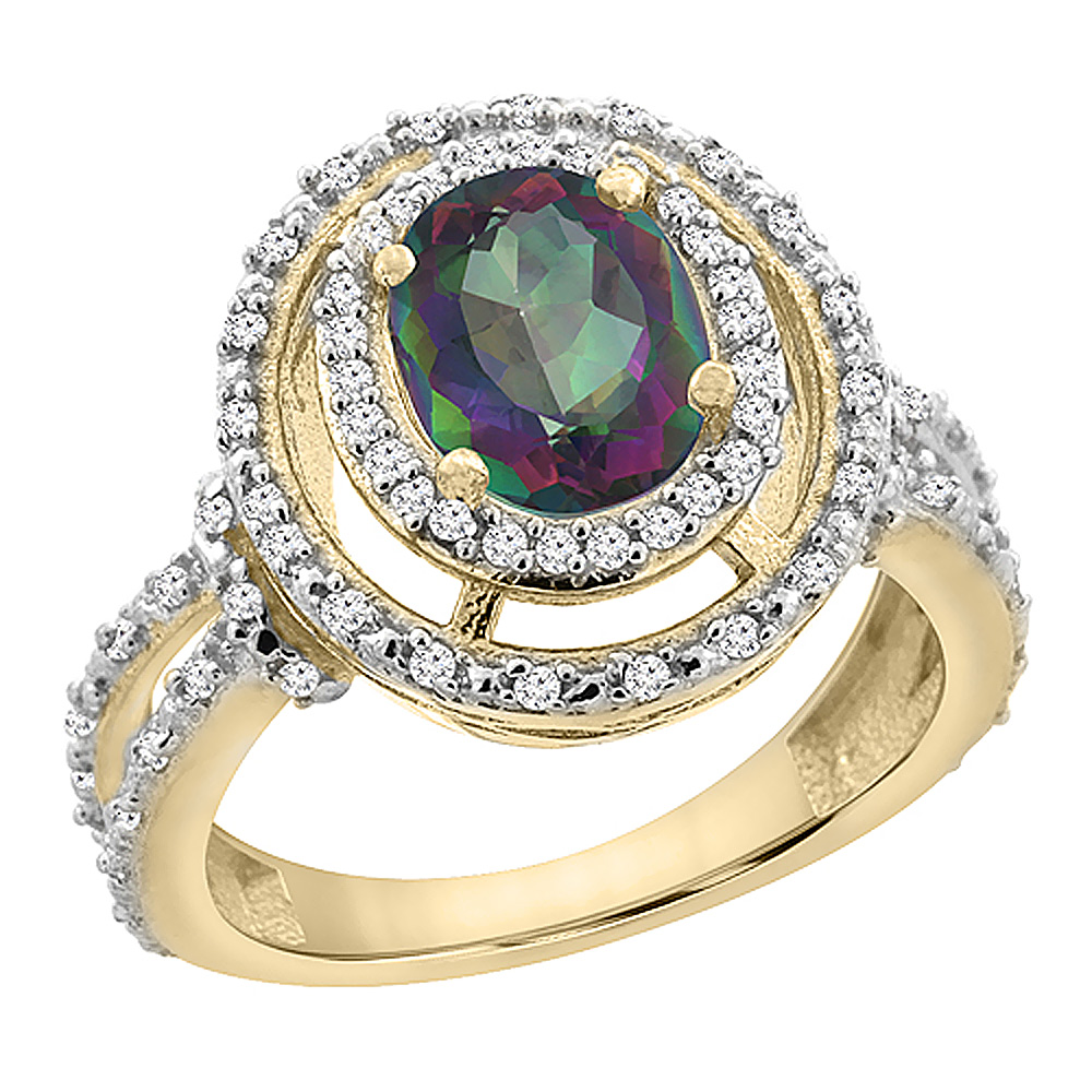 Sabrina Silver 10K Yellow Gold Natural Mystic Topaz Ring Oval 8x6 mm Double Halo Diamond, sizes 5 - 10 at Sears.com