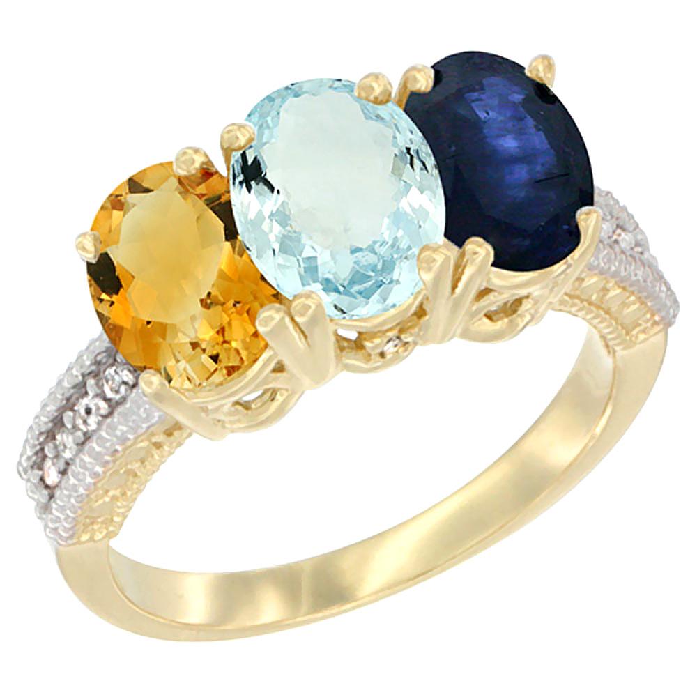 Sabrina Silver 10K Yellow Gold Diamond Natural Citrine Aquamarine & Blue Sapphire Ring 3-Stone 7x5 mm Oval sizes 5 - 10