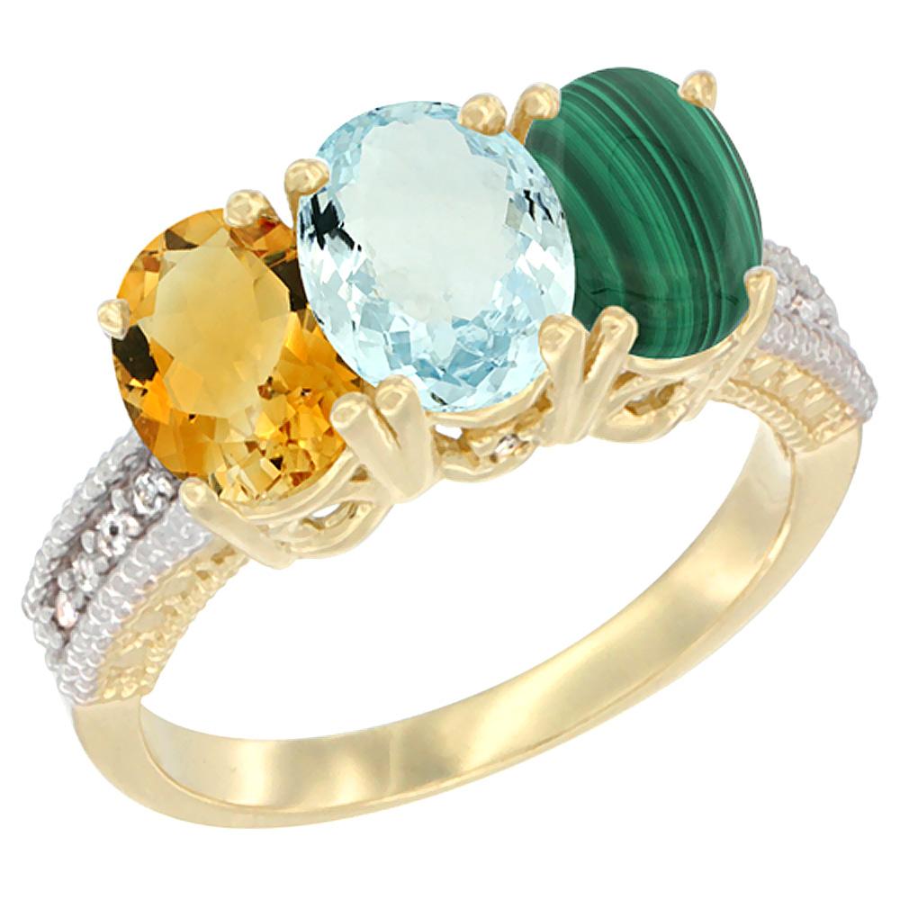 Sabrina Silver 10K Yellow Gold Natural Citrine, Aquamarine & Malachite Ring 3-Stone Oval 7x5 mm Diamond Accent, sizes 5 - 10 at Sears.com