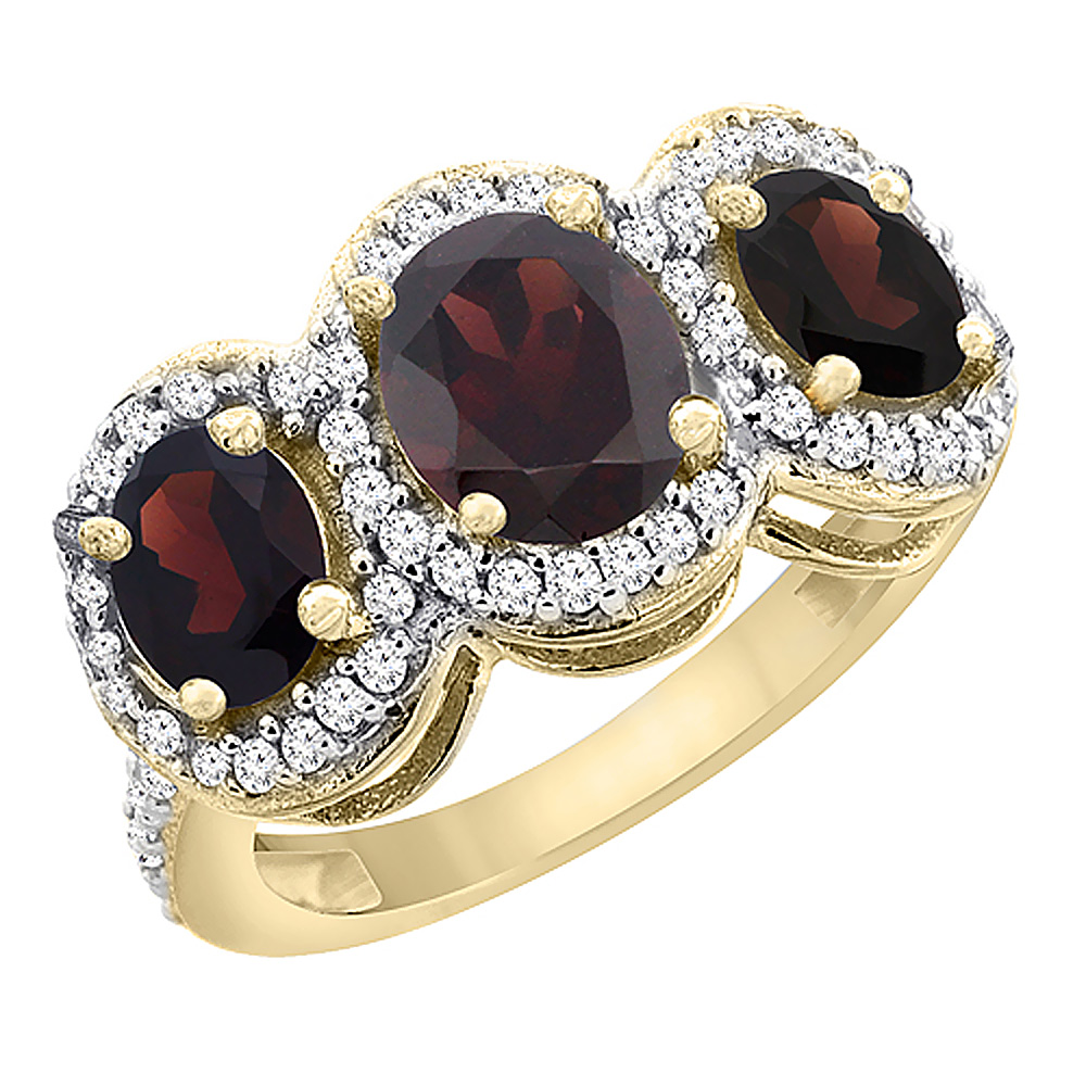 Sabrina Silver 10K Yellow Gold Natural Garnet 3-Stone Ring Oval Diamond Accent, sizes 5 - 10 at Sears.com
