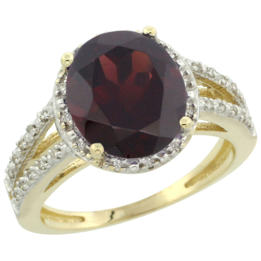 14K Yellow Gold Natural Garnet Diamond Halo Ring Oval 11x9mm, sizes 5-10