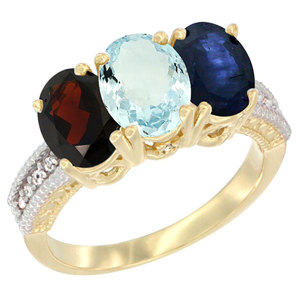 Sabrina Silver 10K Yellow Gold Diamond Natural Garnet Aquamarine & Blue Sapphire Ring 3-Stone 7x5 mm Oval sizes 5 - 10
