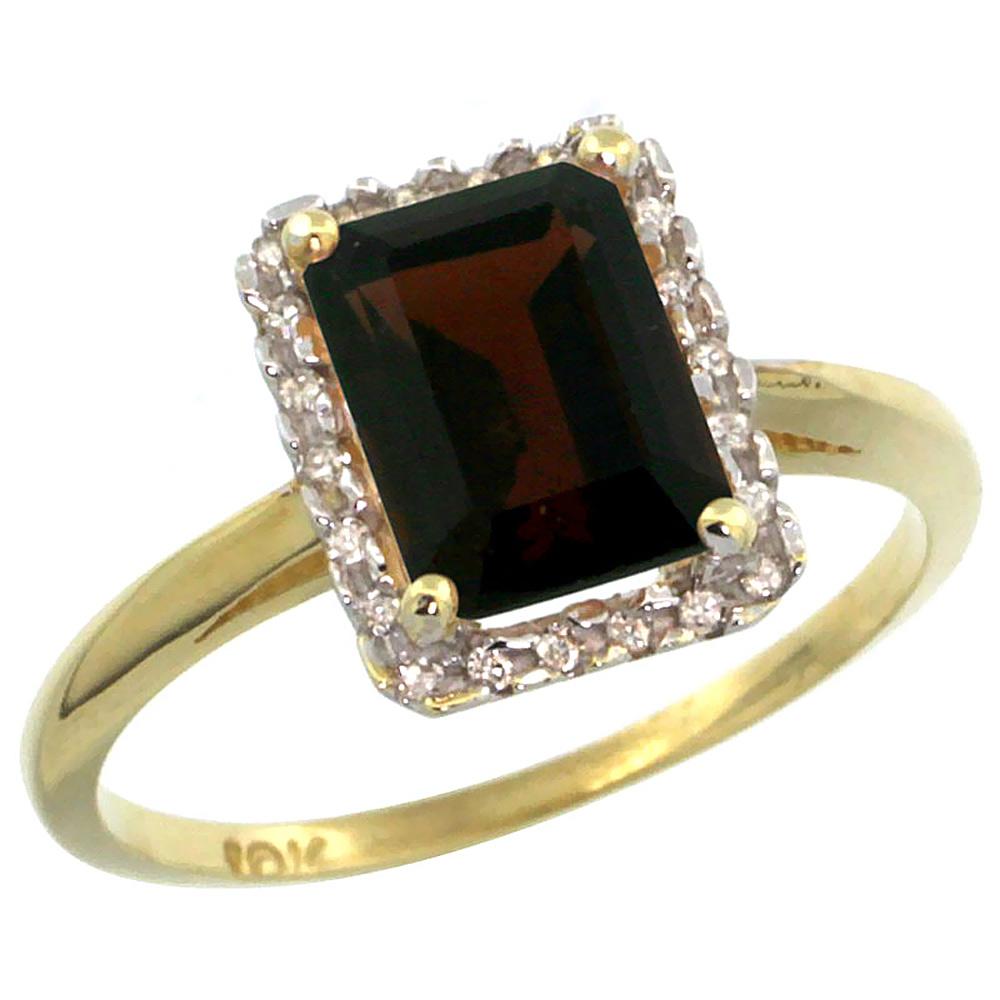 14K Yellow Gold Diamond Natural Garnet Ring Emerald-cut 8x6mm, sizes 5-10