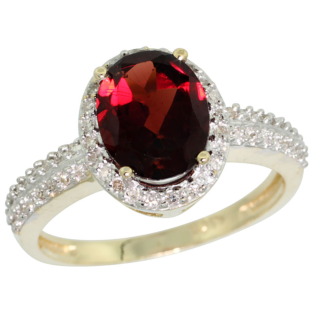 14K Yellow Gold Diamond Natural Garnet Ring Oval 9x7mm, sizes 5-10