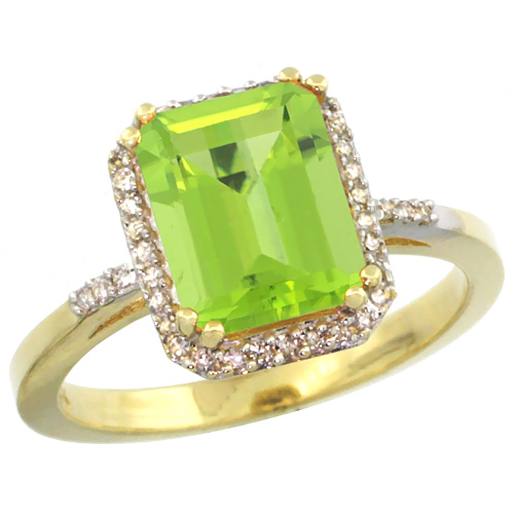 10K Yellow Gold Diamond Natural Peridot Ring Emerald-cut 9x7mm, sizes 5-10