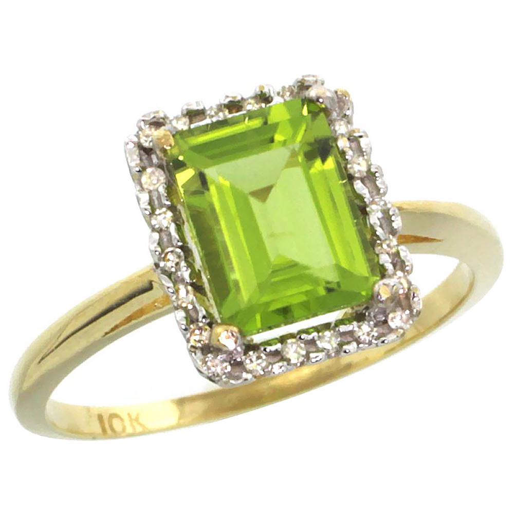 10K Yellow Gold Diamond Natural Peridot Ring Emerald-cut 8x6mm, sizes 5-10