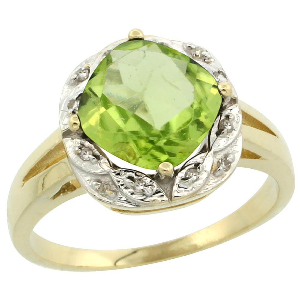 10k Yellow Gold Natural Peridot Ring Cushion-cut 8x8mm Diamond Halo, sizes 5-10
