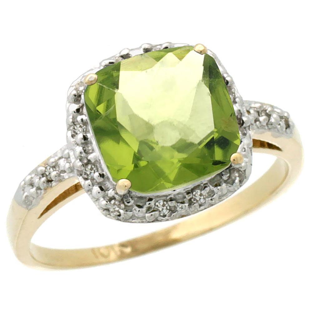 10K Yellow Gold Diamond Natural Peridot Ring Cushion-cut 8x8 mm, sizes 5-10