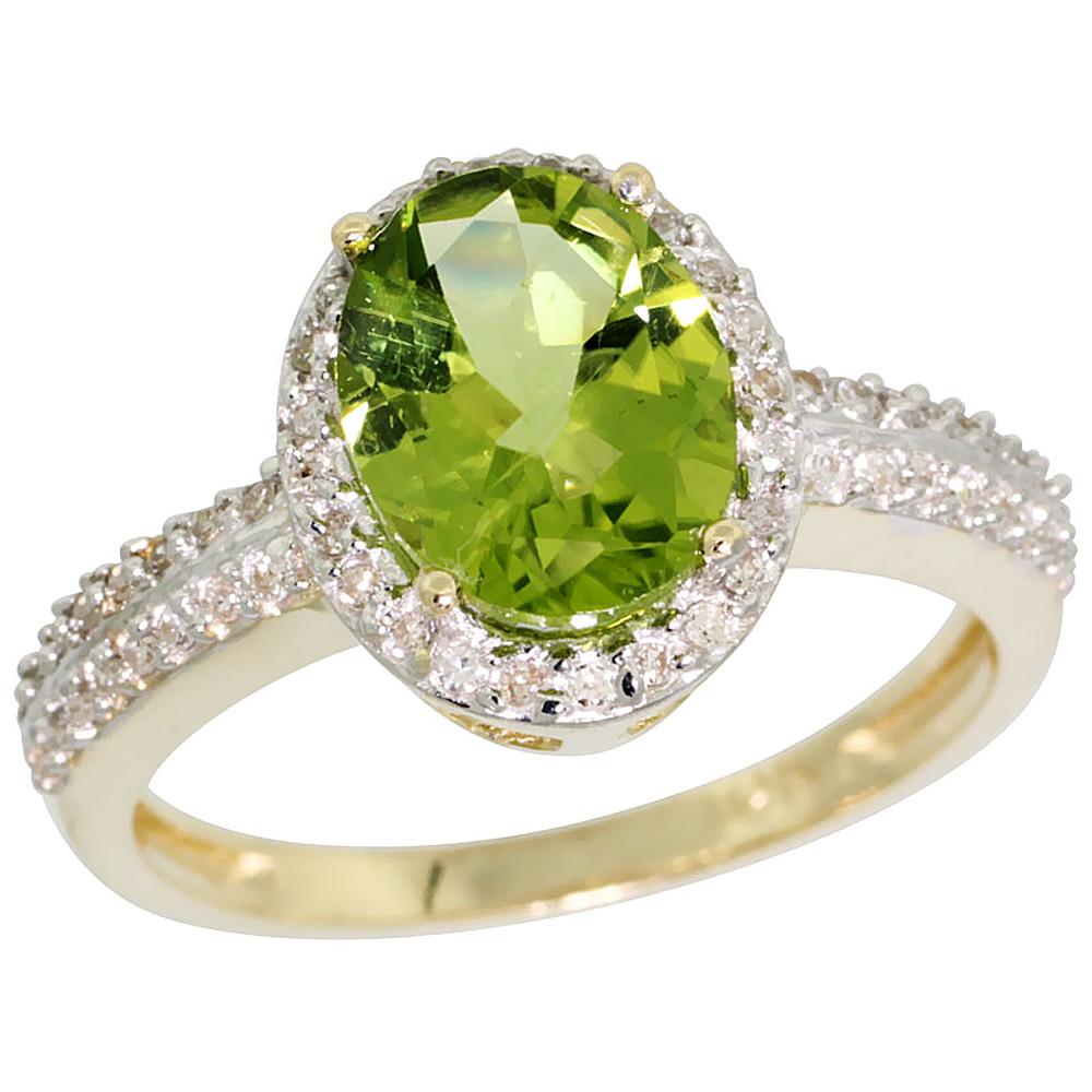 10K Yellow Gold Diamond Natural Peridot Ring Oval 9x7mm, sizes 5-10