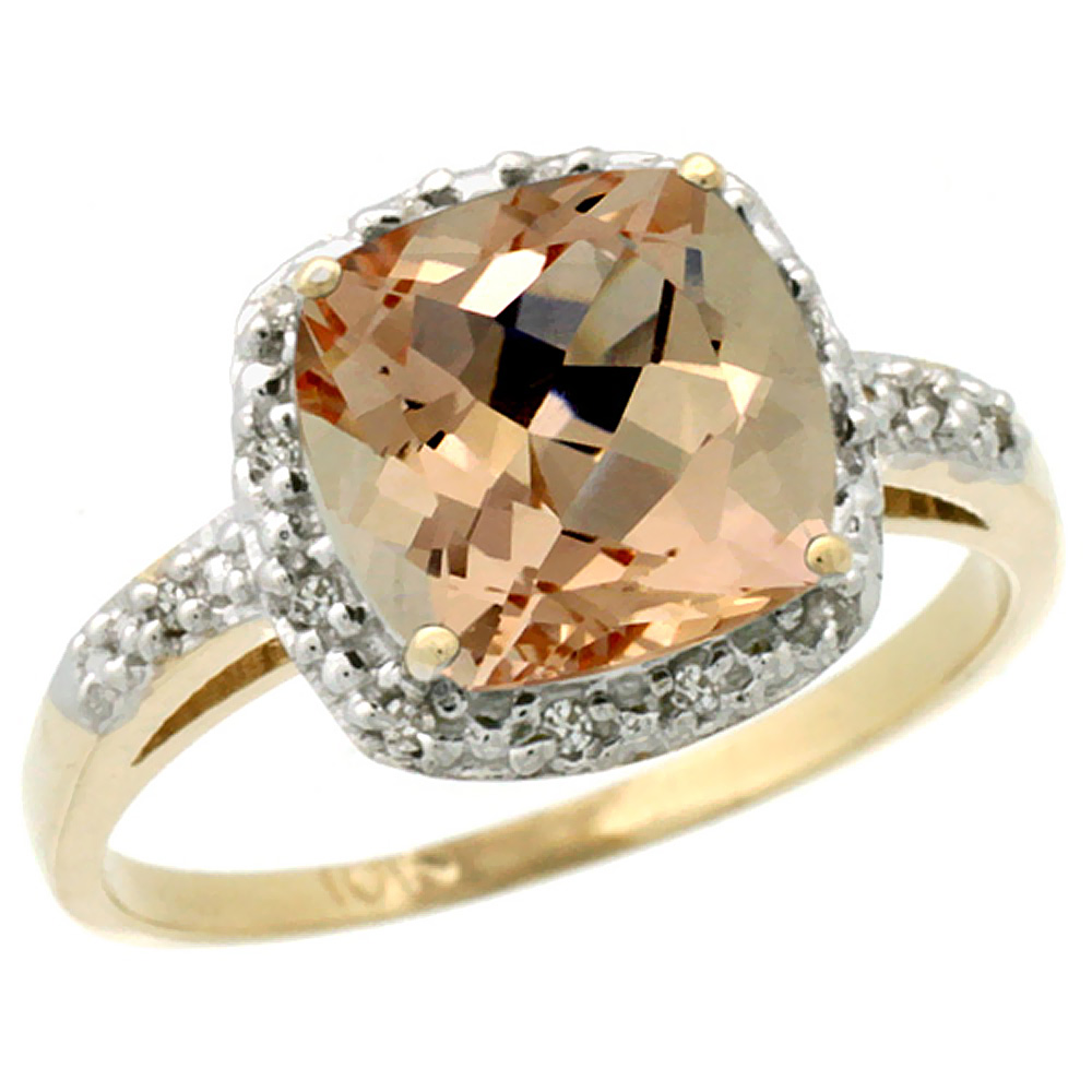14K Yellow Gold Diamond Natural Morganite Ring Cushion-cut 8x8 mm, sizes 5-10
