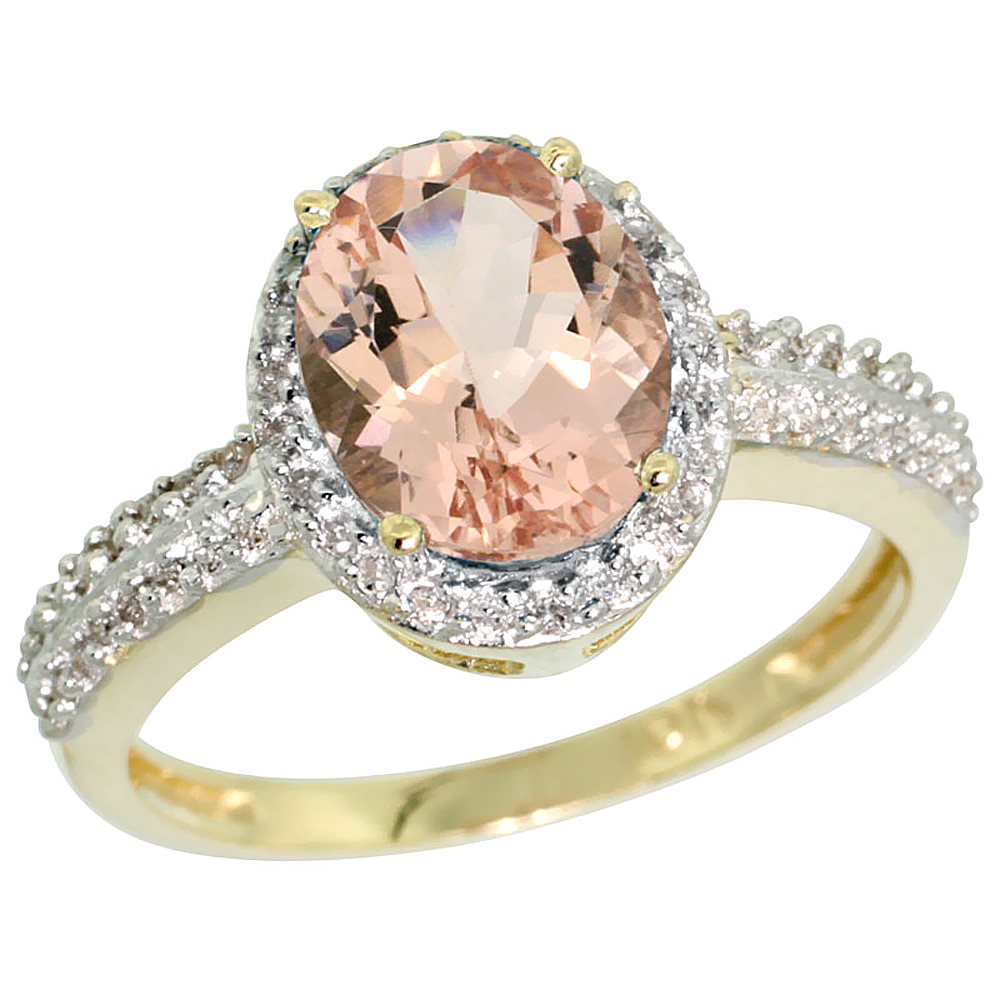 14K Yellow Gold Diamond Natural Morganite Ring Oval 9x7mm, sizes 5-10