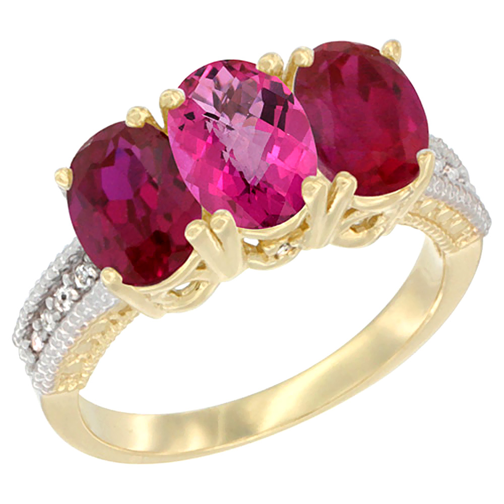 Sabrina Silver 14K Yellow Gold Natural Pink Topaz & Enhanced Ruby Sides Ring 3-Stone Oval 7x5 mm Diamond Accent, sizes 5 - 10 at Sears.com