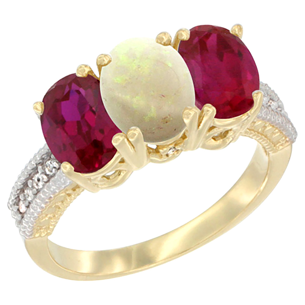 Sabrina Silver 14K Yellow Gold Natural Opal & Enhanced Ruby Sides Ring 3-Stone 7x5 mm Oval Diamond Accent, sizes 5 - 10 at Sears.com