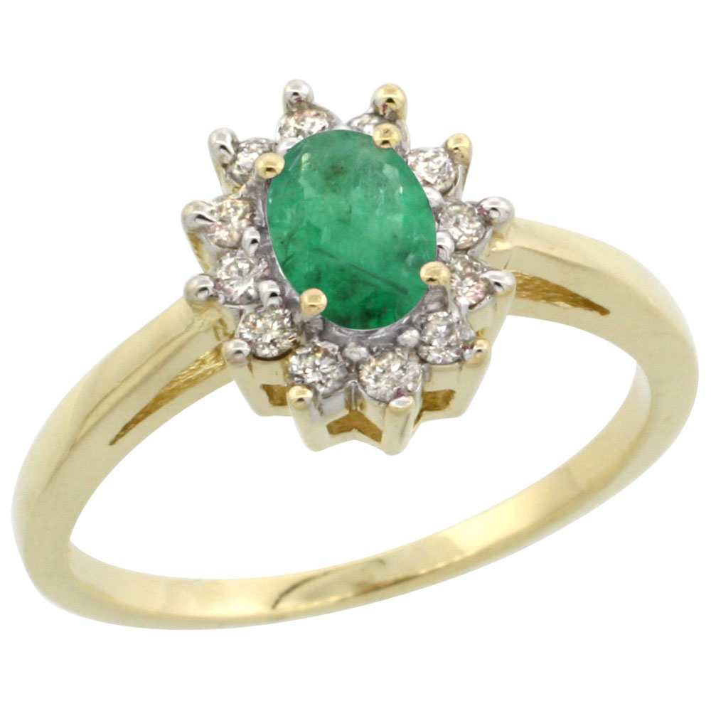 10K Yellow Gold Natural Emerald Flower Diamond Halo Ring Oval 6x4 mm, sizes 5 10