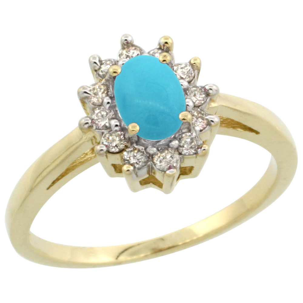 10K Yellow Gold Natural Sleeping Beauty Turquoise Flower Diamond Halo Ring Oval 6x4 mm, sizes 5-10