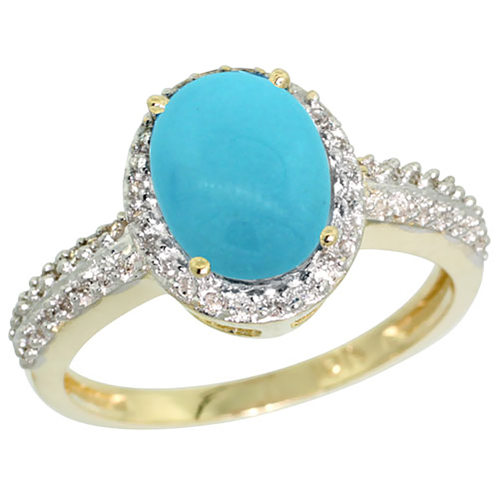 10K Yellow Gold Diamond Natural Sleeping Beauty Turquoise Ring Oval 9x7mm, sizes 5-10