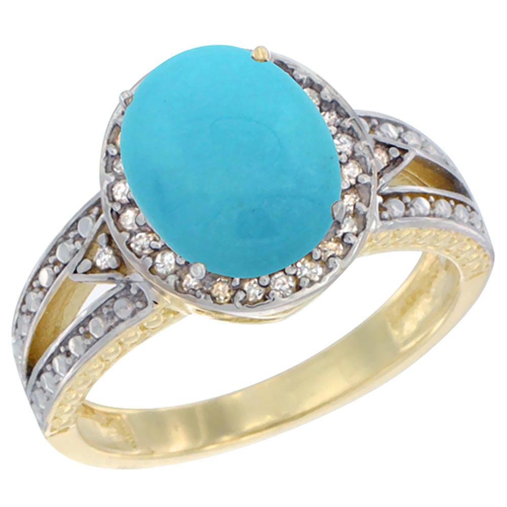 Sabrina Silver 10k Yellow Gold Oval Turquoise Ring 9x7 mm Diamond Halo, sizes 5 - 10 at Sears.com