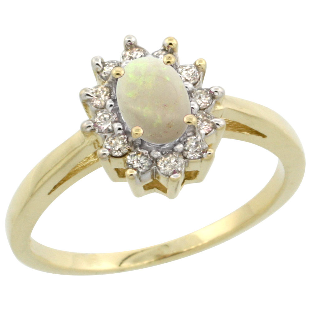 10K Yellow Gold Natural Opal Flower Diamond Halo Ring Oval 6x4 mm, sizes 5-10