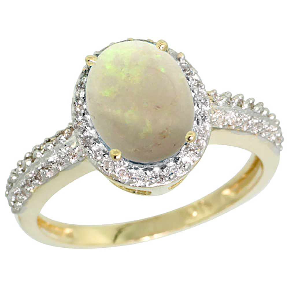 10K Yellow Gold Diamond Natural Opal Ring Oval 9x7mm, sizes 5-10