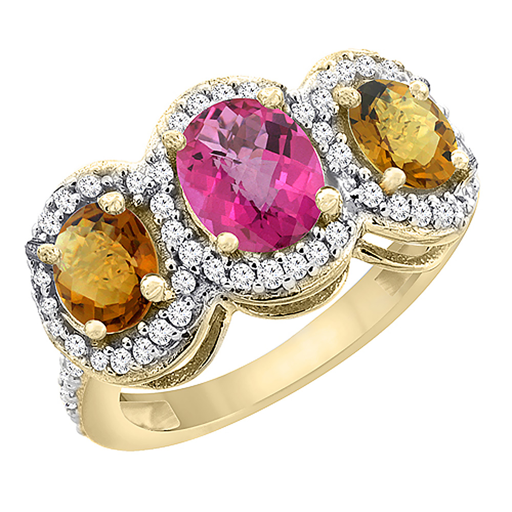 Sabrina Silver 14K Yellow Gold Natural Pink Topaz & Whisky Quartz 3-Stone Ring Oval Diamond Accent, sizes 5 - 10 at Sears.com