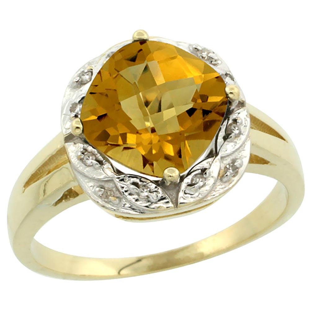10k Yellow Gold Natural Whisky Quartz Ring Cushion-cut 8x8mm Diamond Halo, sizes 5-10