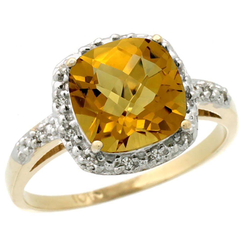 10K Yellow Gold Diamond Natural Whisky Quartz Ring Cushion-cut 8x8 mm, sizes 5-10