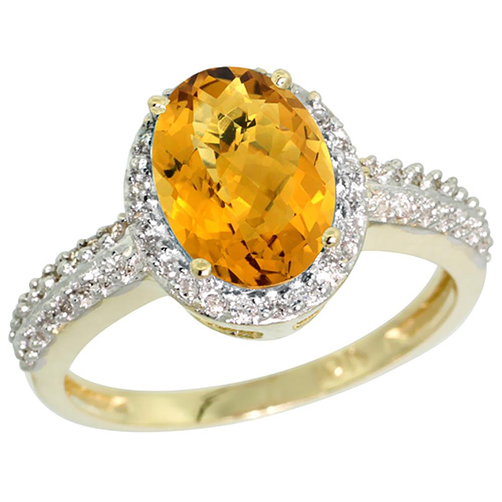 10K Yellow Gold Diamond Natural Whisky Quartz Ring Oval 9x7mm, sizes 5-10