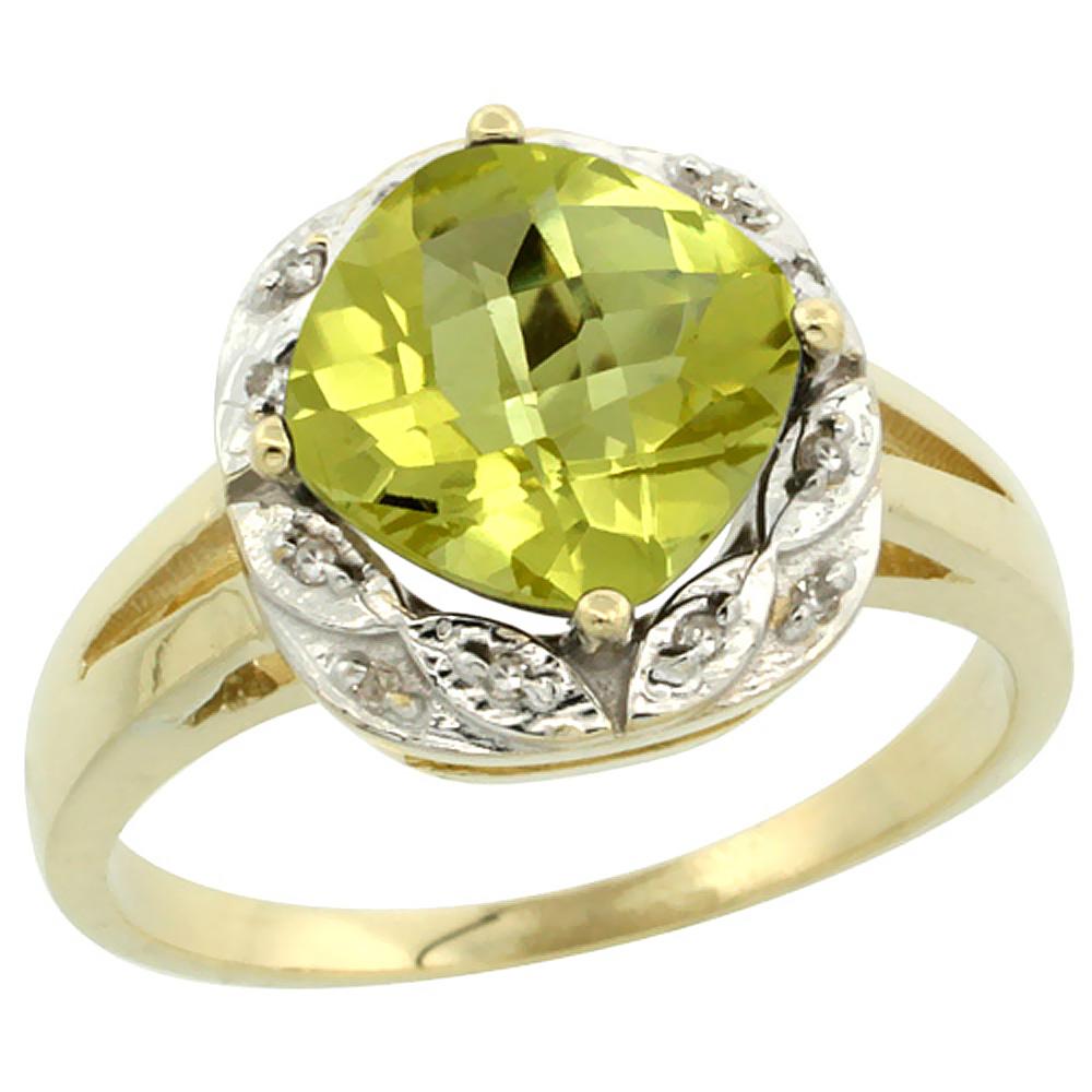 10k Yellow Gold Natural Lemon Quartz Ring Cushion-cut 8x8mm Diamond Halo, sizes 5-10