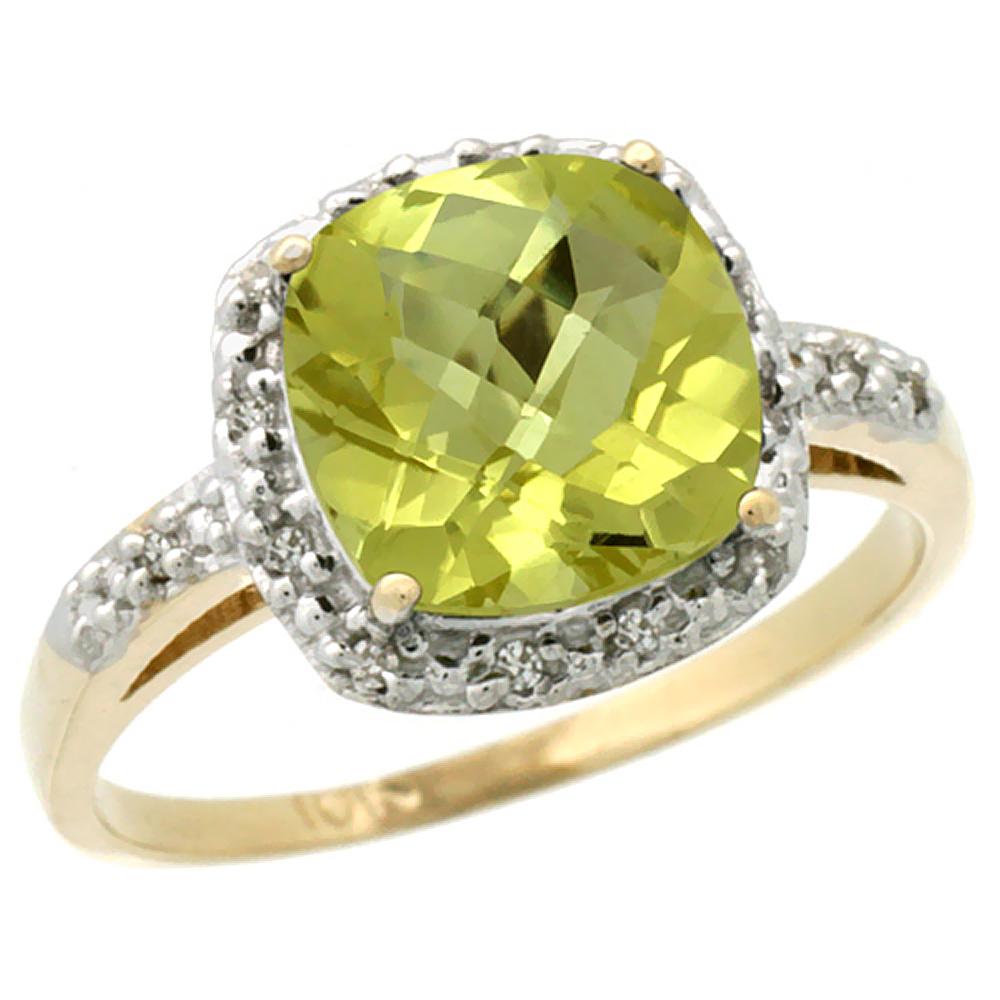10K Yellow Gold Diamond Natural Lemon Quartz Ring Cushion-cut 8x8 mm, sizes 5-10