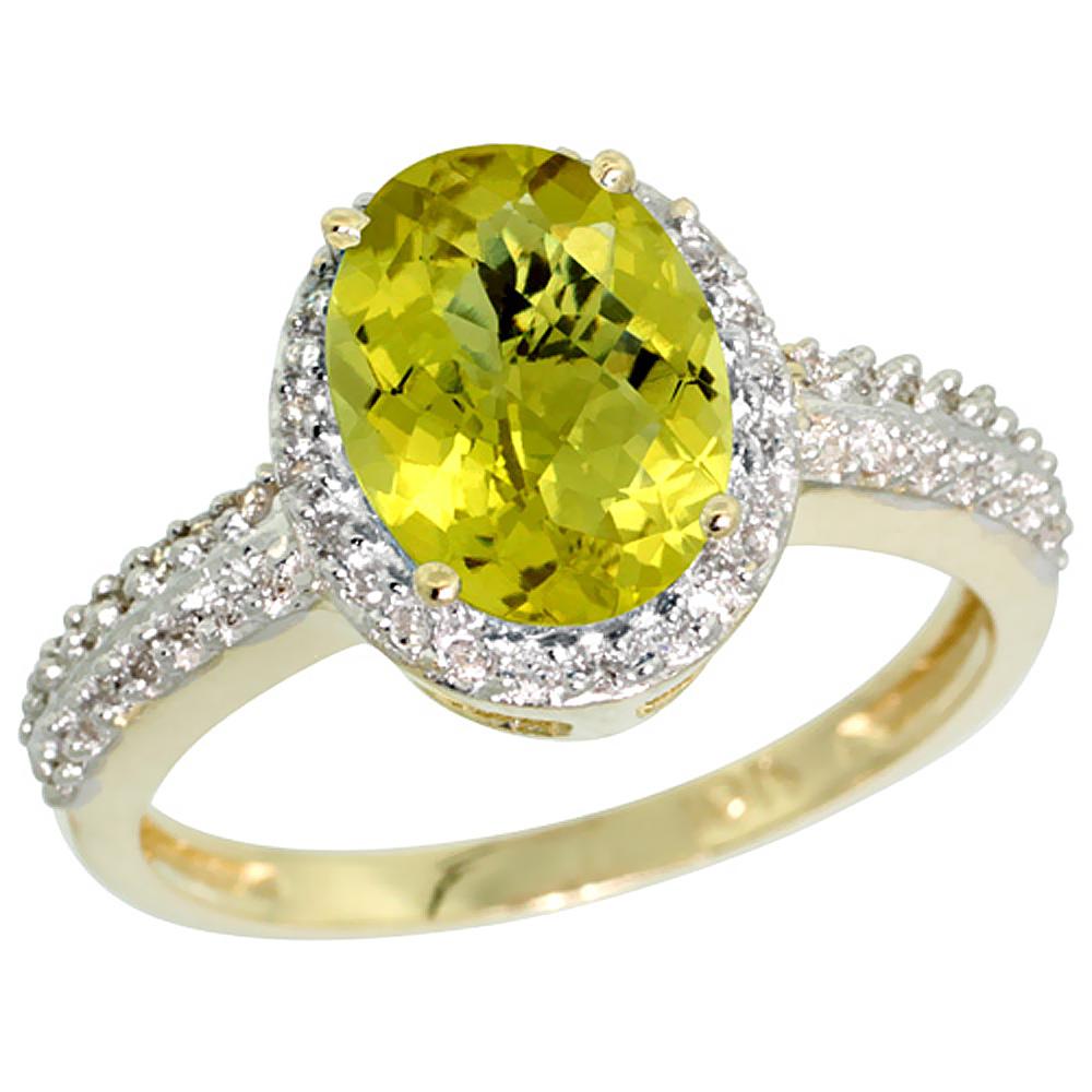 10K Yellow Gold Diamond Natural Lemon Quartz Ring Oval 9x7mm, sizes 5-10