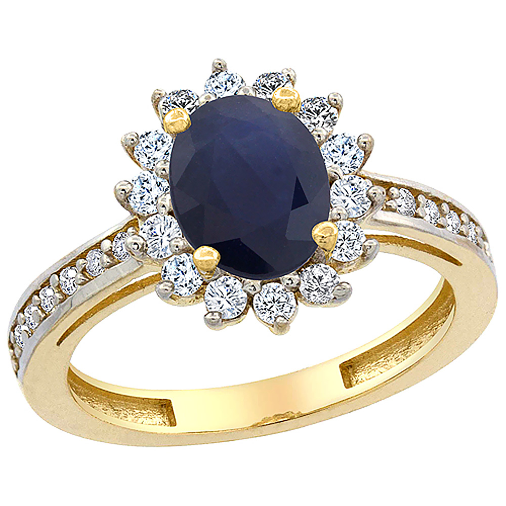 Sabrina Silver 10K Yellow Gold Natural High Quality Blue Sapphire Floral Halo Ring Oval 8x6mm Diamond Accents, sizes 5 - 10