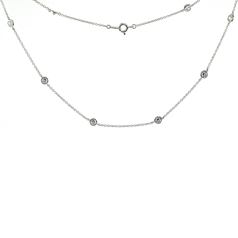 Sterling Silver Cubic Zirconia 4mm \'Diamond By The Yard\' Necklace, 16, 18, 20, 22, 24, 36, 40 inches long