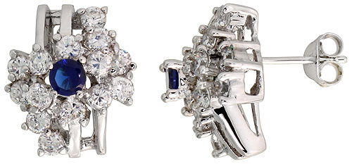 Sterling Silver Blue Sapphire Cubic Zirconia Cocktail Earrings Rhodium finish, 1/2 inch long