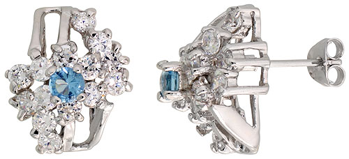 Sterling Silver Blue Topaz Cubic Zirconia Cocktail Earrings Rhodium finish, 1/2 inch long