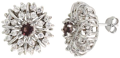 Sterling Silver Amethyst Cubic Zirconia Starburst Earrings Rhodium finish, 1/2 inch long