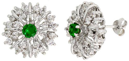 Sterling Silver Emerald Cubic Zirconia Starburst Earrings Rhodium finish, 1/2 inch long