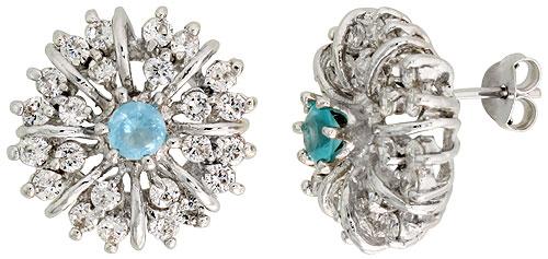 Sterling Silver Blue Topaz Cubic Zirconia Starburst Earrings Rhodium finish, 1/2 inch long