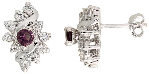 Sterling Silver Amethyst Cubic Zirconia Earrings Diamond Shape Rhodium finish, 1/2 inch long