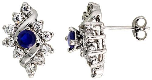 Sterling Silver Blue Sapphire Cubic Zirconia Earrings Diamond Shape Rhodium finish, 1/2 inch long