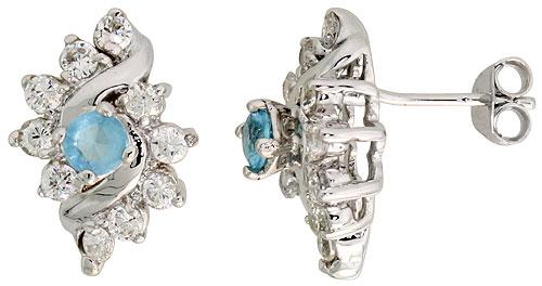 Sterling Silver Blue Topaz Cubic Zirconia Earrings Diamond Shape Rhodium finish, 1/2 inch long