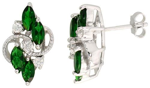 Sterling Silver Emerald Cubic Zirconia 4-Stone Navette Shape Earrings Rhodium finish, 3/4 inch long