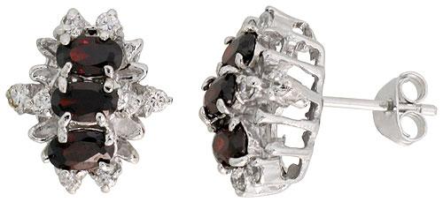 Sterling Silver Garnet Cubic Zirconia Earrings Oval Shape Rhodium finish, 1/2 inch long