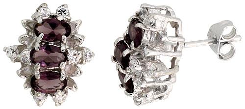 Sterling Silver Amethyst Cubic Zirconia Earrings Oval Shape Rhodium finish, 1/2 inch long