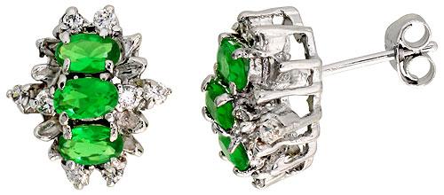 Sterling Silver Emerald Cubic Zirconia Earrings Oval Shape Rhodium finish, 1/2 inch long