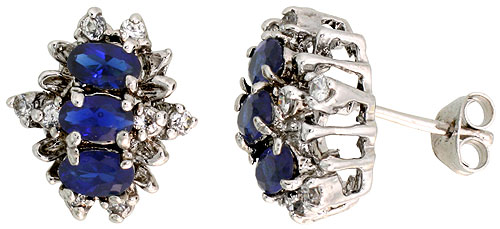 Sterling Silver Blue Sapphire Cubic Zirconia Earrings Oval Shape Rhodium finish, 1/2 inch long