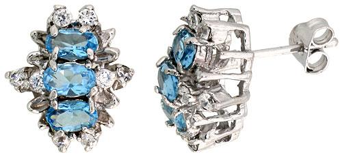 Sterling Silver Blue Topaz Cubic Zirconia Earrings Oval Shape Rhodium finish, 1/2 inch long