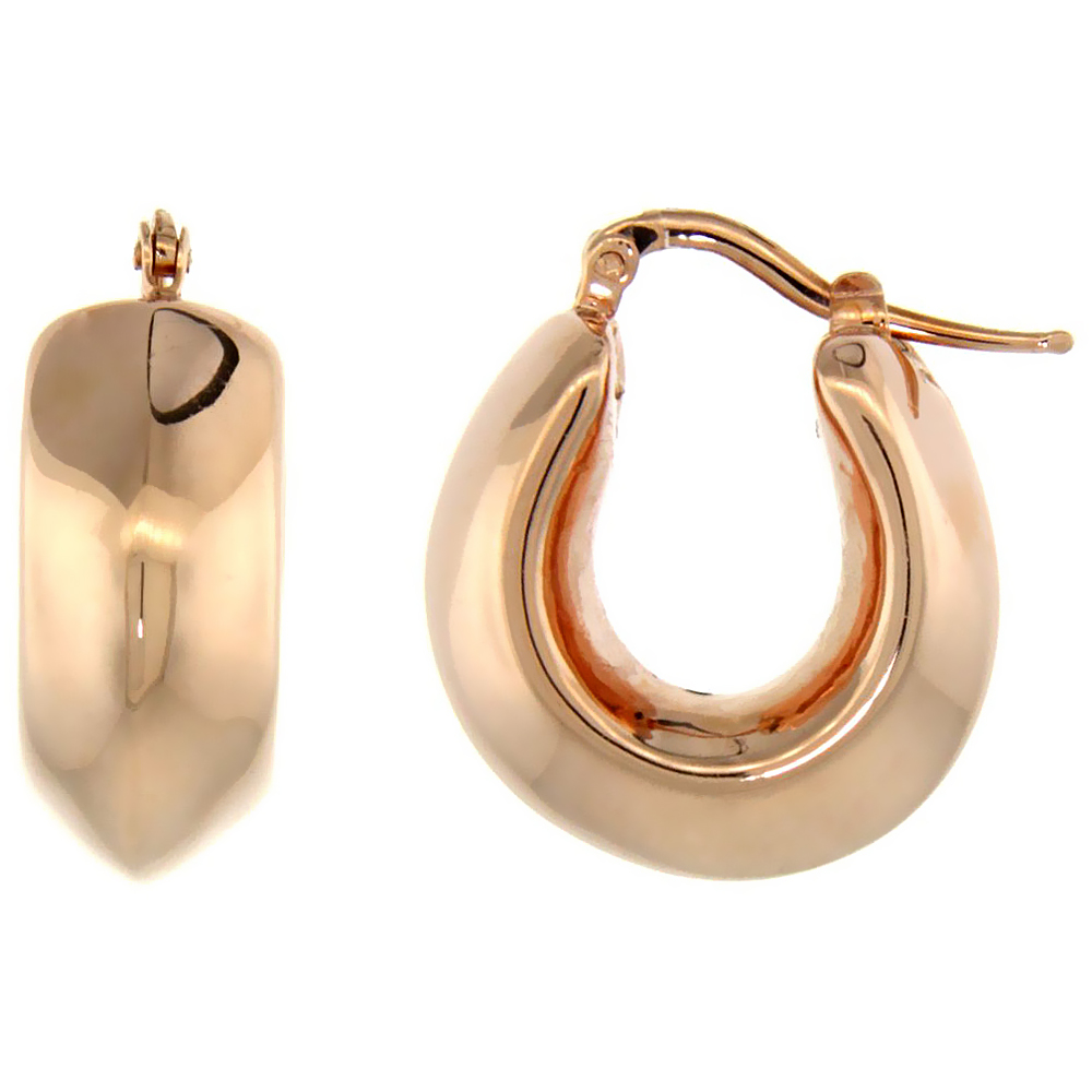 Sterling Silver Italian Puffy Hoop Earrings U-shaped with Rose Gold Finish, 3/4 inch wide