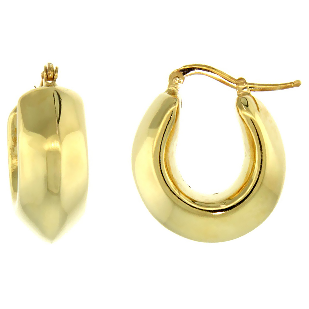 Sterling Silver Italian Puffy Hoop Earrings U-shaped with Yellow Gold Finish, 3/4 inch wide