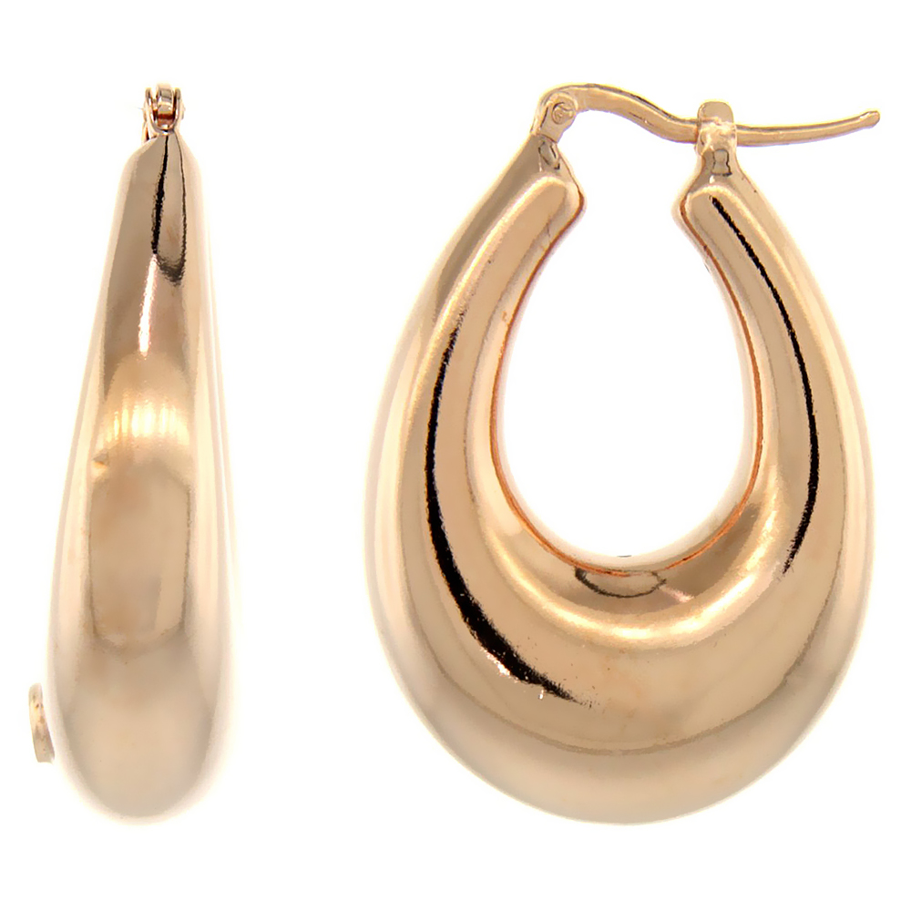 Sterling Silver Italian Puffy Hoop Earrings U-shaped with Rose Gold Finish, 1 5/16 inch wide
